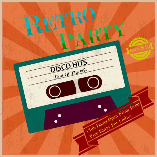 retro party poster vintage tape Logo ,Logo , icon , SVG retro party poster vintage tape Logo