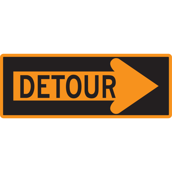 DETOUR ARROW SIGN Logo ,Logo , icon , SVG DETOUR ARROW SIGN Logo