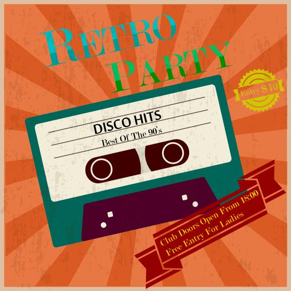 retro party poster vintage tape Logo ,Logo , icon , SVG retro party poster vintage tape Logo