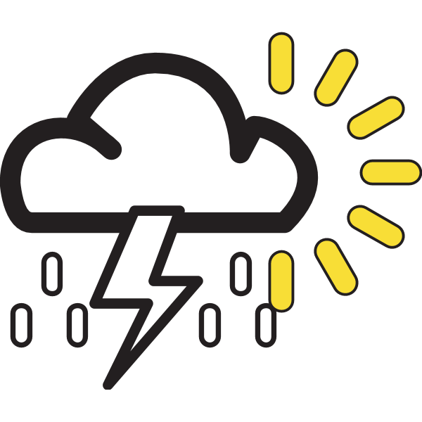 SUNNY WITH POSSIBLE SHOWERS WEATHER SYMB Logo ,Logo , icon , SVG SUNNY WITH POSSIBLE SHOWERS WEATHER SYMB Logo